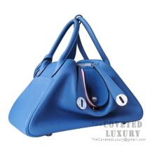 Hermes Lindy 26 Bag R2 Blue Agate And 3Q Rose Sakura Clemence SHW