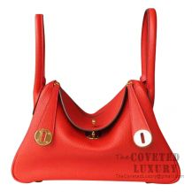 Hermes Lindy 26 Bag S5 Rouge Tomate And CC37 Gold Clemence GHW