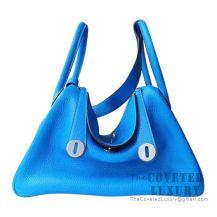 Hermes Lindy 26 Bag T7 Blue Hydra Clemence SHW
