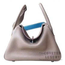 Hermes Lindy 26 Bag CC18 Etoupe And 7W Blue Izmir Clemence SHW