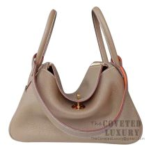 Hermes Lindy 26 Bag CC18 Etoupe And CK93 Orange Clemence GHW