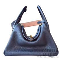 Hermes Lindy 30 Bag 89 Noir And CC37 Gold Clemence GHW