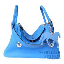 Hermes Lindy 30 Bag B3 Blue Zanzibar And Z6 Malachite Clemence SHW