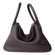 Hermes Lindy 30 Bag CC47 Chocolate Clemence GHW