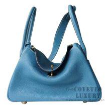 Hermes Lindy 30 Bag CC75 Blue Jean Clemence GHW