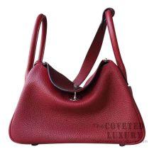 Hermes Lindy 30 Bag K1 Rouge Grenat And 8V Orange Poppy Clemence GHW