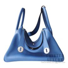 Hermes Lindy 30 Bag R2 Blue Agate And 4Z Gris Mouette Clemence SHW