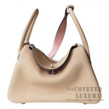 Hermes Lindy 30 Bag S2 Trench And 3Q Rose Sakura Clemence SHW