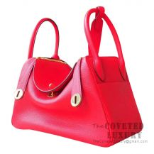 Hermes Lindy 30 Bag S5 Rouge Tomate Clemence GHW