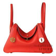 Hermes Lindy 30 Bag S5 Rouge Tomate And CC37 Gold Clemence GHW