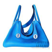 Hermes Lindy 30 Bag T7 Blue Hydra Clemence SHW