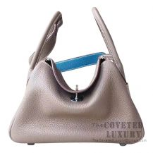 Hermes Lindy 30 Bag CC18 Etoupe And 7W Blue Izmir Clemence SHW