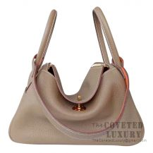 Hermes Lindy 30 Bag CC18 Etoupe And CK93 Orange Clemence GHW