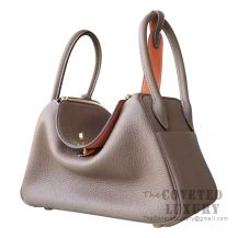 Hermes Lindy 30 Bag CC18 Etoupe And L5 Crevette Clemence GHW