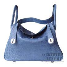Hermes Lindy 30 Bag 7E Blue Brighton Matte Alligator SHW