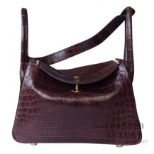 Hermes Lindy 30 Bag CC47 Chocolate Matte Niloticus SHW