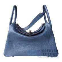 Hermes Lindy 30 Bag N7 Blue Tempete Matte Alligator SHW
