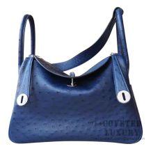 Hermes Lindy 30 Bag CC73 Blue Saphir Ostrich SHW
