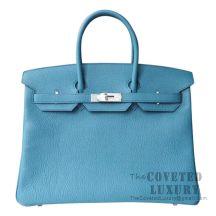 Hermes Birkin 35 Bag 7B Turquoise Blue Togo SHW