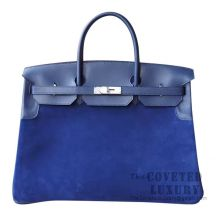 Hermes Birkin 40 Bag S7 Blue De Galice Swift And Grizzly SHW