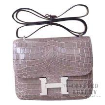 Hermes Mini Constance 18 Bag CK81 Gris Tourterelle Shiny Niloticus SHW