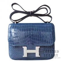 Hermes Mini Constance 18 Bag N7 Blue Tempete Shiny Niloticus SHW