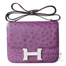 Hermes Mini Constance 18 5C Violet Ostrich SHW