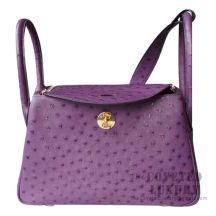 Hermes Lindy 26 Bag 5L Ultraviolet Ostrich GHW