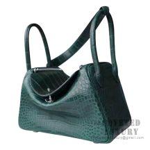 Hermes Lindy 30 Bag CC67 Vert Fonce Matte Alligator SHW