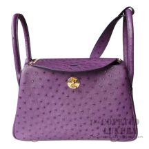 Hermes Lindy 30 Bag 5L Ultraviolet Ostrich GHW